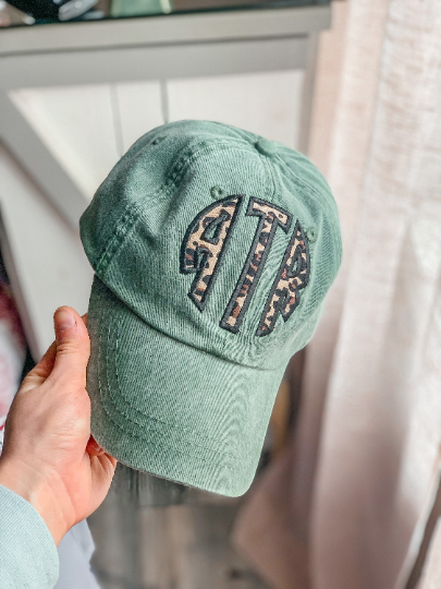 cactus spruce green adams baseball cap trucker hat cheetah embroidered applique monogram