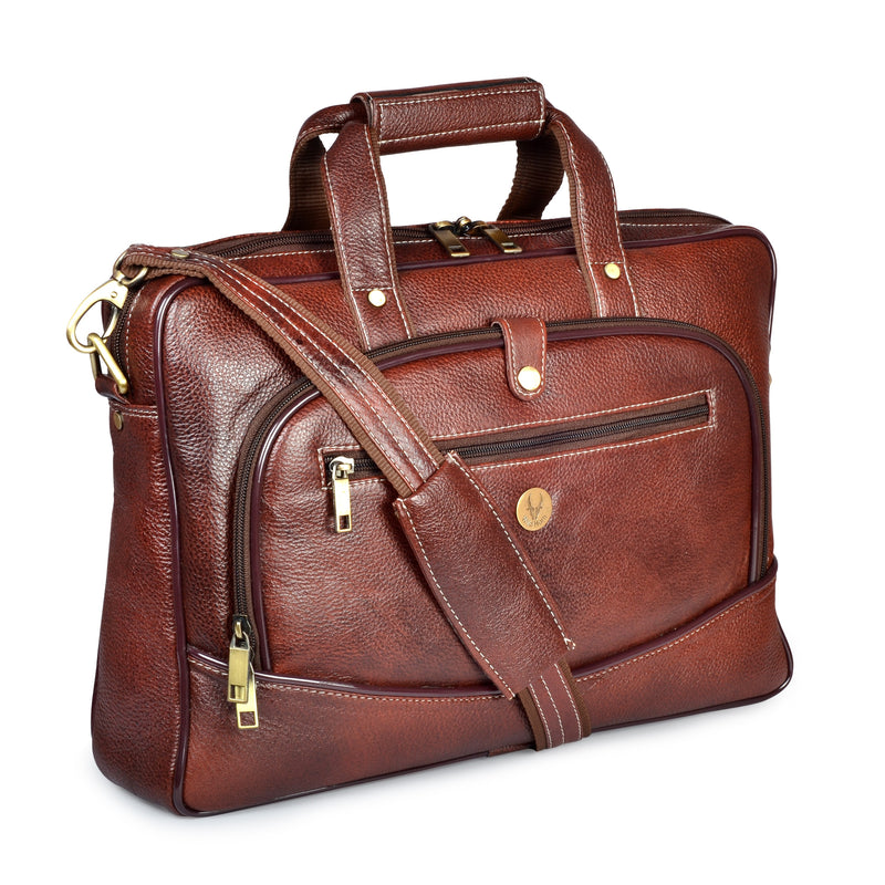 Wildhorn Genuine Leather Brown 15 inch Briefcase Laptop Bag for Men with Trolley Strap | Leather Travel Messenger Bag with Padded Laptop Compartment(MB595) - WILDHORN