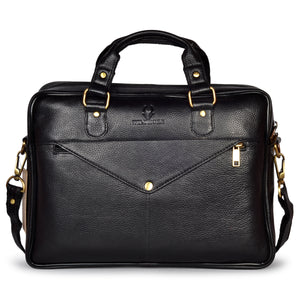 Wildhorn Genuine Leather Black 14 inch Laptop Bag for Men with Trolley Strap | Padded Laptop Compartment office leather bag(MB585 BLACK) - WILDHORN
