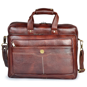 Wildhorn Genuine Leather Brown 15.5 inch Briefcase Laptop Bag for Men with Padded Compartment | Leather Travel Messenger Bag with Laptop Compartment(MB593) - WILDHORN