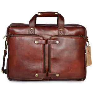 Wildhorn Genuine Leather Brown 16 inch Briefcase Laptop Bag for Men with Padded Compartment | Leather Travel Bag with Laptop Compartment - WILDHORN
