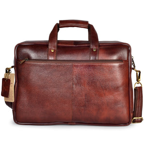 Wildhorn Genuine Leather Brown 15.6 inch Briefcase Laptop Bag for Men with Padded Compartment | Everyday Leather Office Messenger Bag(MB581 MAROON) - WILDHORN