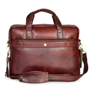 Wildhorn Genuine Leather Brown 14 inch Laptop Bag for Men with Trolley Strap | Padded Laptop Compartment office leather bag(MB585 MAROON) - WILDHORN