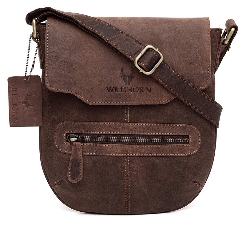 WildHorn Men's Urban Edge Vintage Leather Messenger Bag (Brown) - WILDHORN