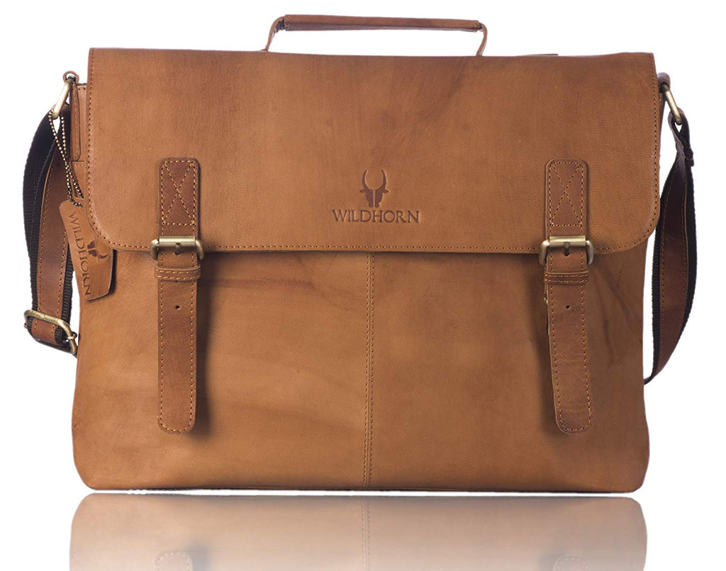 WildHorn Leather Brown Laptop Bag - WILDHORN