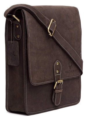 WildHorn Men's Urban Edge Hunter Leather Brown Messenger Bag - WILDHORN