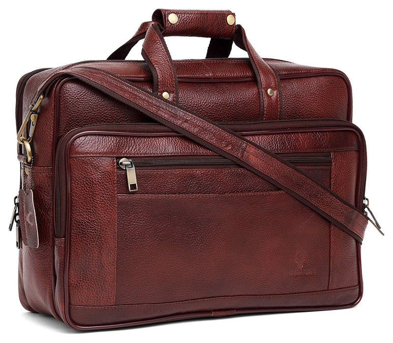 WILDHORN Leather 15.5 inches Bombay Brown Messenger Bag (MB572) - WILDHORN
