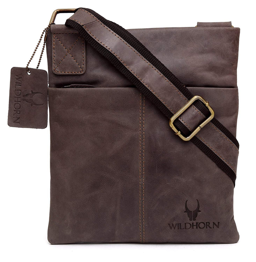 WildHorn Leather 8.5 inches Brown Messenger Bag (MB261) - WILDHORN