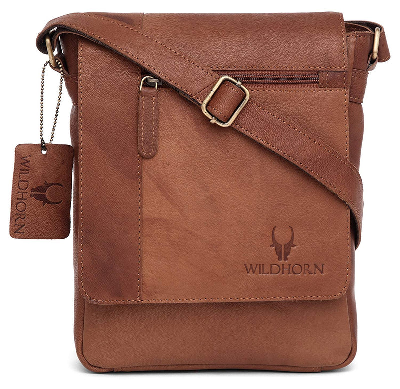 WildHorn Leather 21.59 cms Brown Messenger Bag (MB205/1 Vintage) - WILDHORN