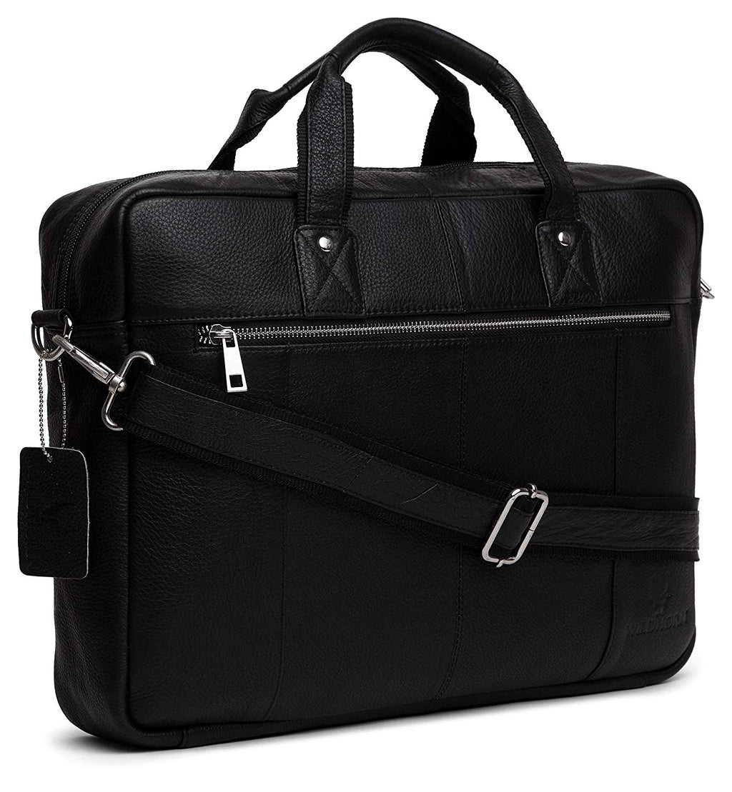 WildHorn Leather Laptop Messenger Bag,16 x 3 x 12 Inches(Black) - WILDHORN