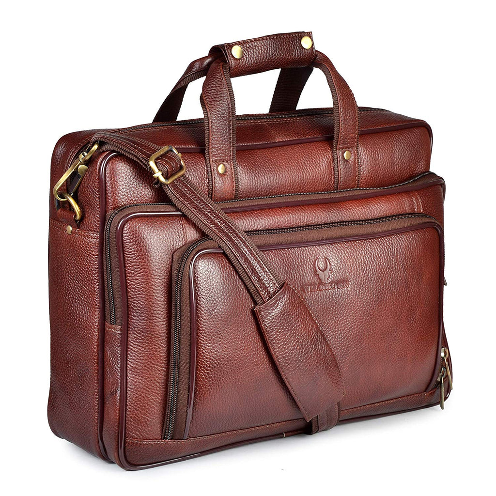 Wildhorn Genuine Leather Brown 15.6 inch Briefcase Laptop Bag for Men with Padded Compartment | Leather Travel Bag with Laptop Compartment - WILDHORN