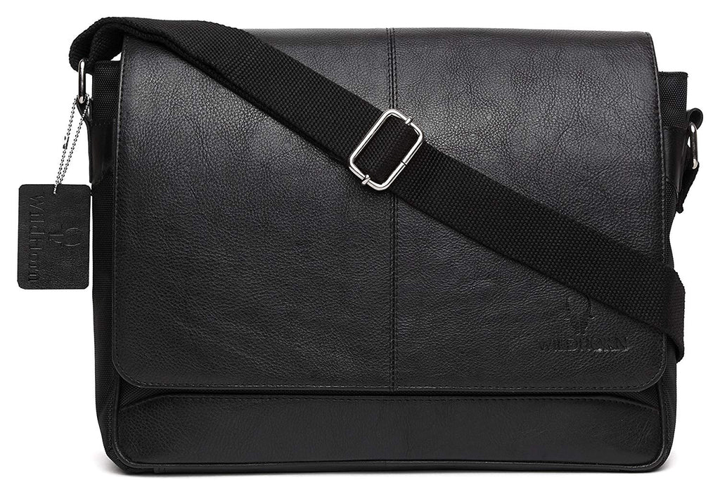 WildHorn Urban Edge Genuine Leather-Nylon Laptop Messenger Bag - WILDHORN