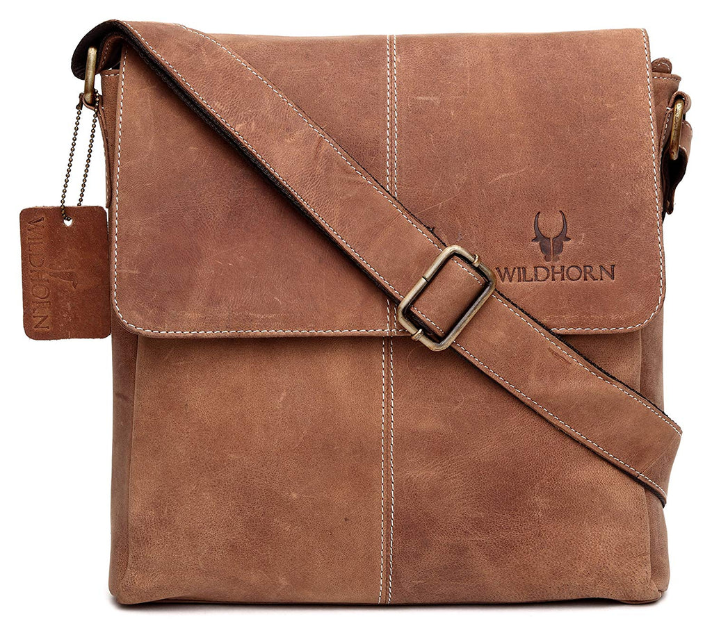 WildHorn Leather 25.4 cms Brown Messenger Bag - WILDHORN