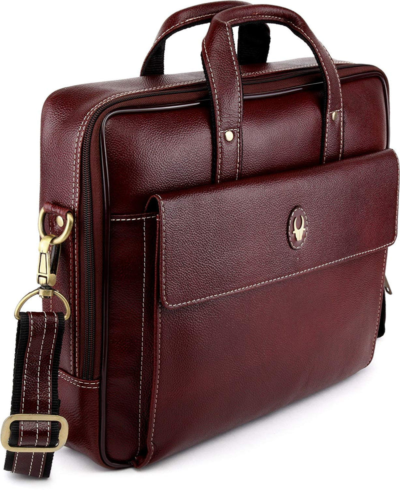 "WildHorn Leather 14"" Brown Laptop Briefcase - WILDHORN"