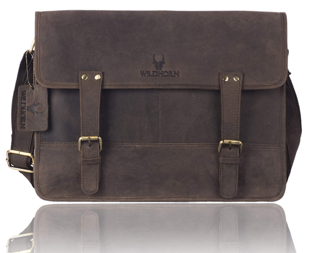WildHorn Leather (15 inch) Laptop Messenger Bag Dimension : L-15 inch W-4 inch H-12 inch - WILDHORN