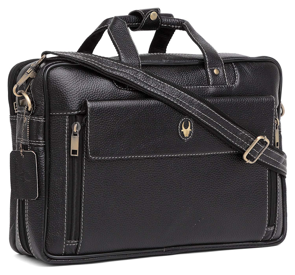 Wildhorn Original Leather Black 15.5 inch Laptop Bag for Men with Padded Compartment | Everyday Leather Office Messenger Bag - WILDHORN
