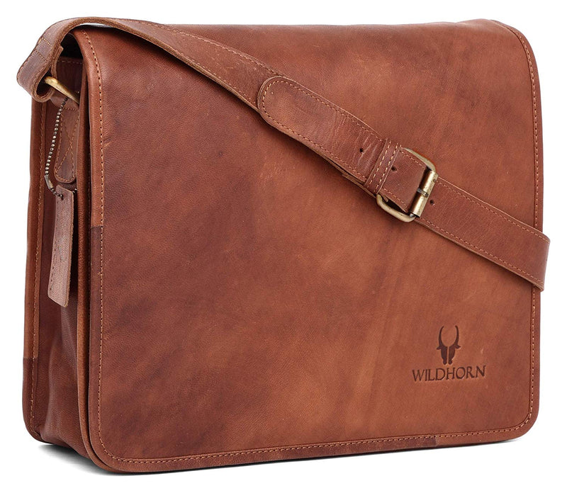 WILDHORN Men's Leather Vintage Laptop Messenger Bag (Tan) - WILDHORN