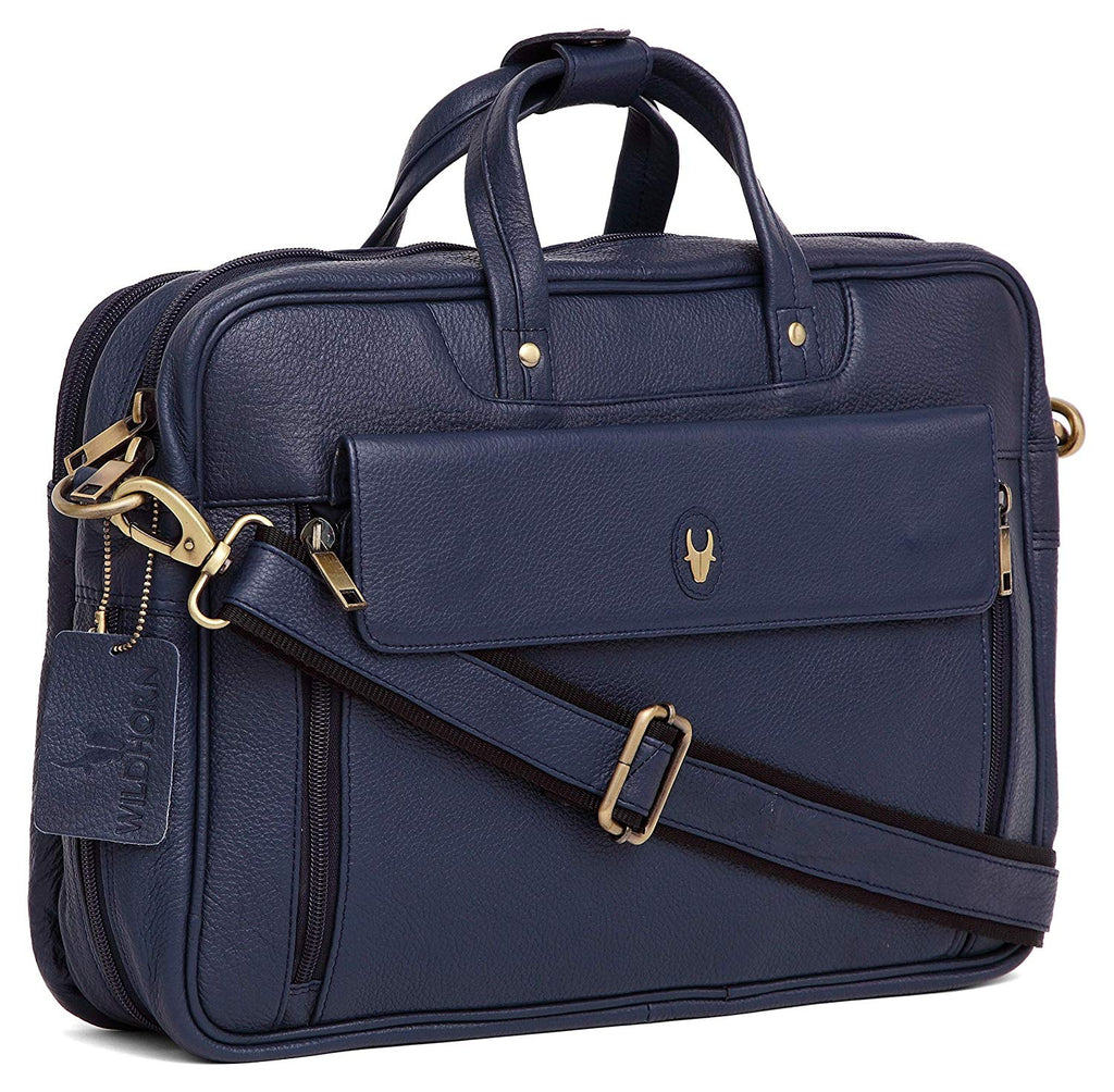 WildHorn 100% Genuine Leather Navy Blue Laptop Messenger Bag for Men - WILDHORN