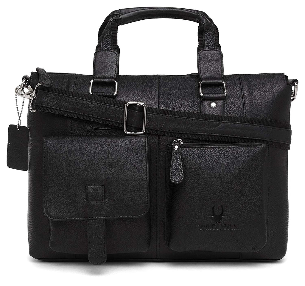WildHorn Genuine Leather Laptop Messenger Bag Dimension : L-15.5 inch W-3.5 inch H-12.5 inch - WILDHORN