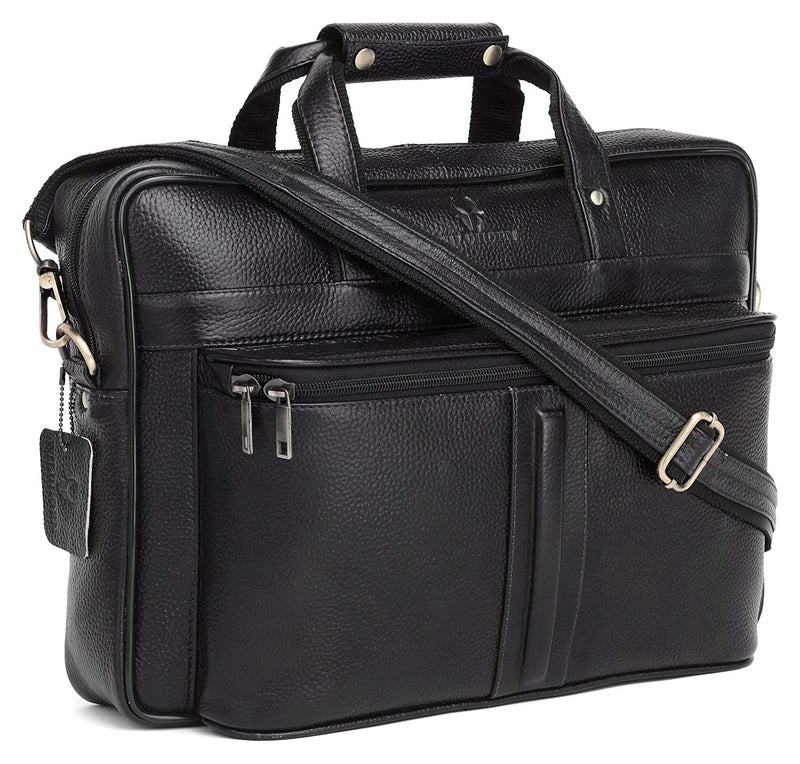 WildHorn 100% Genuine Leather Laptop Messenger Bag for Men (Black) by WILDHORN - WILDHORN