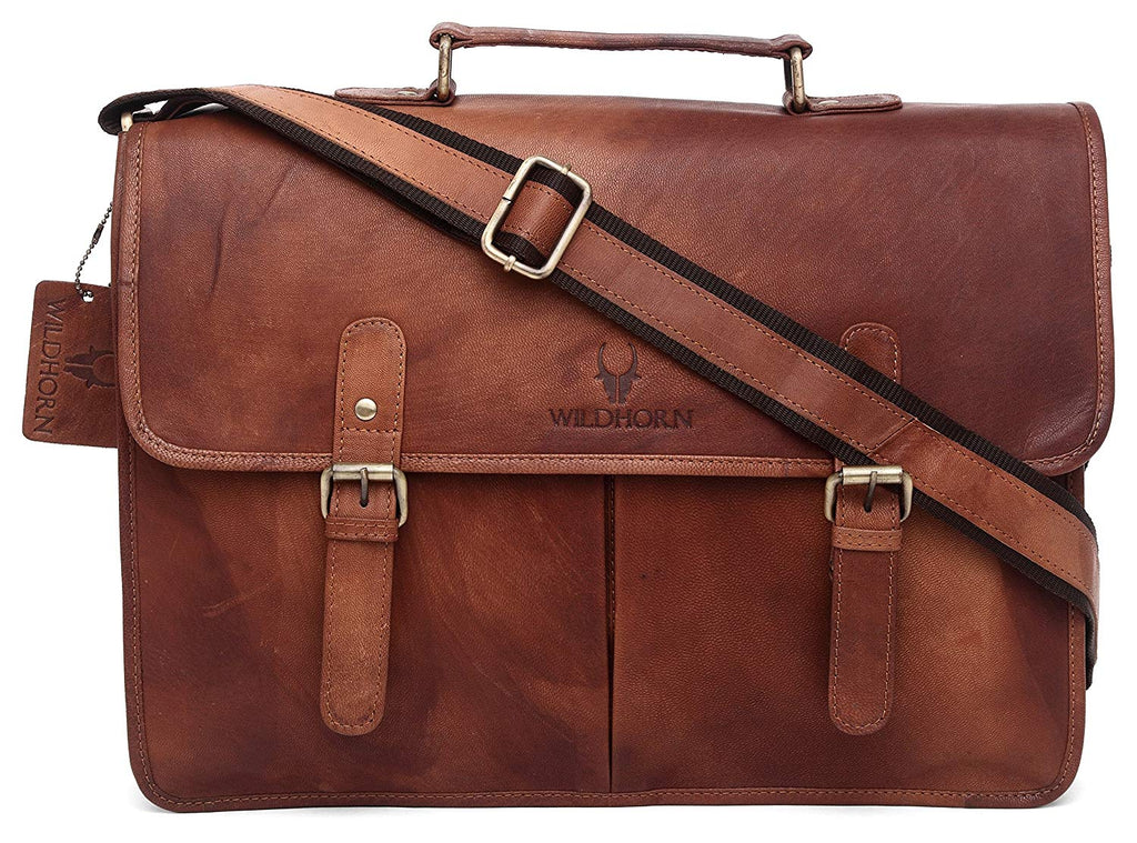 WildHorn Tan Vintage 100% Genuine Leather Laptop Messenger Bag.Dimension : L-16 inch W-4 inch H-12 inch - WILDHORN