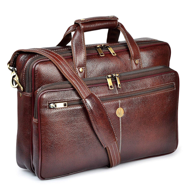 Wildhorn Genuine Leather Brown 15.6 inch Briefcase Laptop Bag for Men with Padded Compartment | Leather Travel Messenger Bag with Laptop Compartment(MB596) - WILDHORN