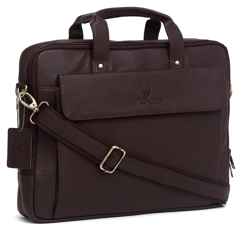 WildHorn Men's Brown Leather 16-inch Laptop Messenger Bag - WILDHORN