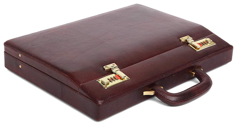 WildHorn® 100% Genuine Leather Premium Briefcase Attache Bag|Office|Meeting (Dimension : 17 x 12.5 x 3 Inch) - WILDHORN
