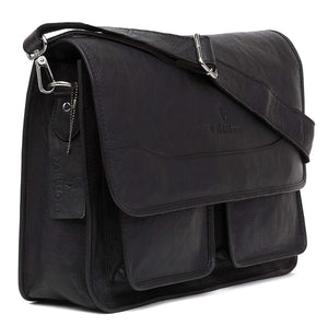 WildHorn Urban Edge100% Leather Laptop Messenger Black Men's Bag - WILDHORN