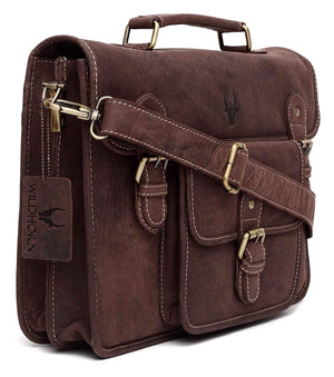WildHorn Urban Edge Vintage 100% Genuine Hunter Leather Laptop Messenger Bag - WILDHORN