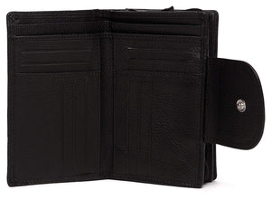 WildHorn® Black Genuine Leather Wallets for Women - WILDHORN