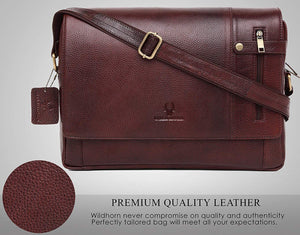 Wildhorn Genuine Leather 14.5 Inch Laptop Messenger Bag for Men|Everyday Crossbody Shoulder Office Travel Messenger Bag - WILDHORN