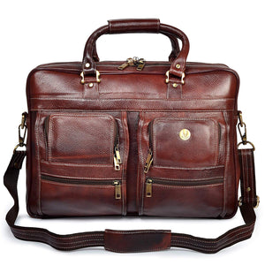 Wildhorn Genuine Leather Brown 17 inch Briefcase Laptop Bag for Men with Padded Compartment | Leather Travel Bag with Laptop Compartment - WILDHORN