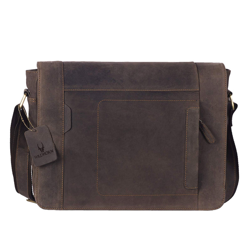 WildHorn Leather 15.494 cms Brown Messenger Bag (MB242) - WILDHORN