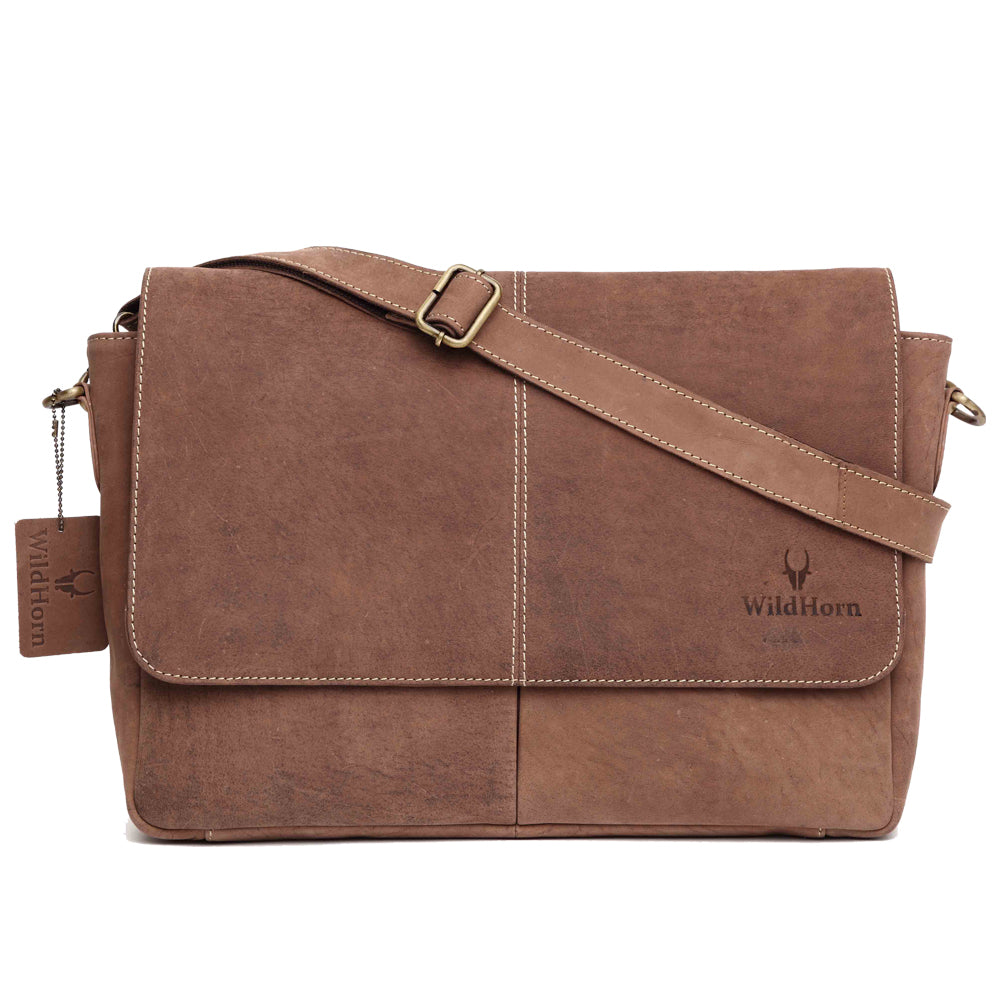 WildHorn Men's Urban Edge Vintage Hunter Leather Laptop Messenger Bag (Brown) - WILDHORN