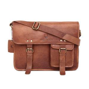 WILDHORN Leather 13 inches Tan Vintage Messenger Bag (MB 562) - WILDHORN