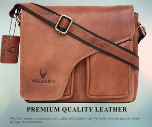 WildHorn India Leather 11 inches Tan Messenger Bag (MB565) - WILDHORN