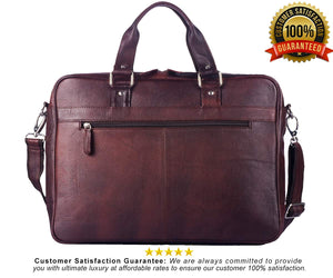 WildHorn 100% Genuine Leather Brown 16 inch Laptop Messenger Bag for Men Dimension : L-16 inch W-3 inch H-12 inch - WILDHORN