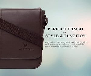 Wildhorn Genuine Leather Hunter Sling Messenger bag for men | Everyday Multipurpose Crossbody Leather Sling Bag - WILDHORN
