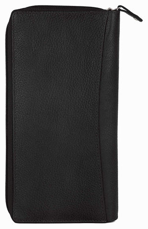 WildHorn Black Men's RIFD Protected Genuine Leather Passport Holder/Cheque Book Holder/Document Holder (Black) - WILDHORN