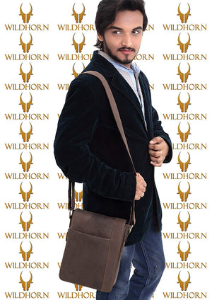 Wildhorn Genuine Leather Sling bag for men |Everyday Multipurpose Crossbody Sling traveller bag (MB228 Hunter) - WILDHORN