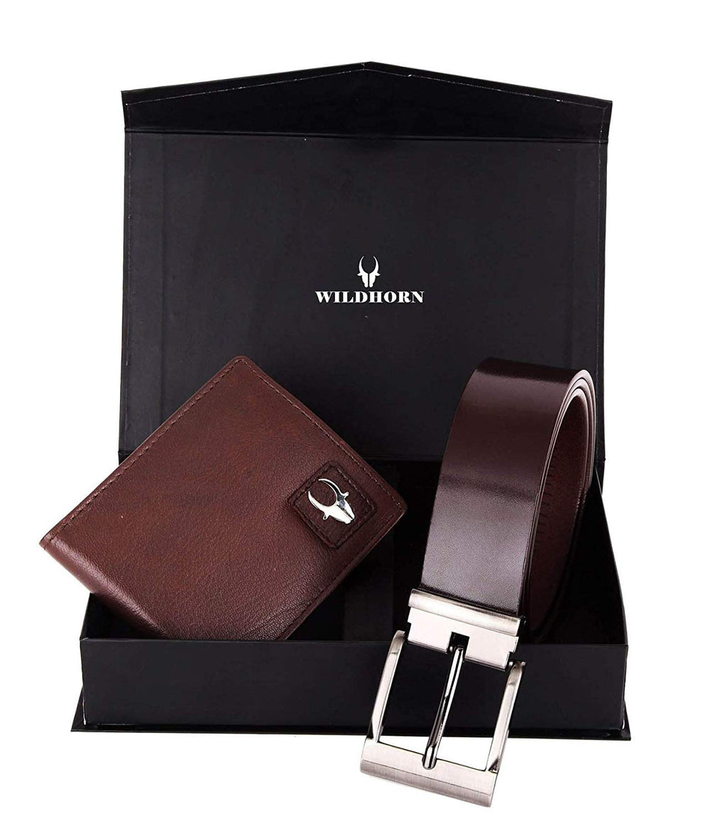 WildHorn® RFID Protected Genuine High Quality Brown Leather Wallet & Belt Combo for Men - WILDHORN