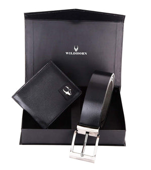 WildHorn® RFID Protected Genuine High Quality Black Leather Wallet & Belt Combo for Men - WILDHORN