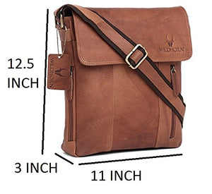 Wildhorn Genuine Vintage Leather 11 inch Work Messenger Bag for Men | Everyday Multipurpose Traveller Tablet Bag (MB244 TAN) - WILDHORN