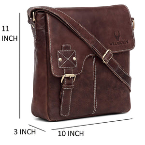 WildHorn Leather 25.4 cms Brown Messenger Bag (MB098 Brown Cackle) - WILDHORN