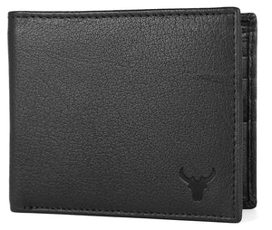 Napa Hide RFID Protected Genuine High Quality Leather Wallet & Pen Combo for Men (BLACK NAPA) - WILDHORN