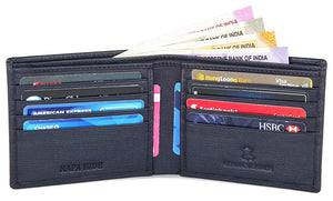 Napa Hide RFID Protected Genuine High Quality Leather Wallet & Pen Combo for Men (Blue) - WILDHORN