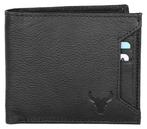 Napa Hide RFID Protected Genuine High Quality Leather Wallet & Pen Combo for Men (black) - WILDHORN