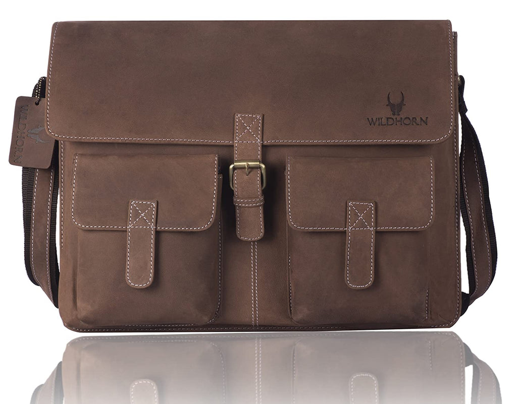 WILDHORN® 100% Genuine Leather Messenger Bag for Men