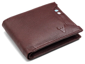 Napa Hide RFID Protected Genuine High Quality Leather Wallet & Pen Combo for Men (MAROON NAPA) - WILDHORN